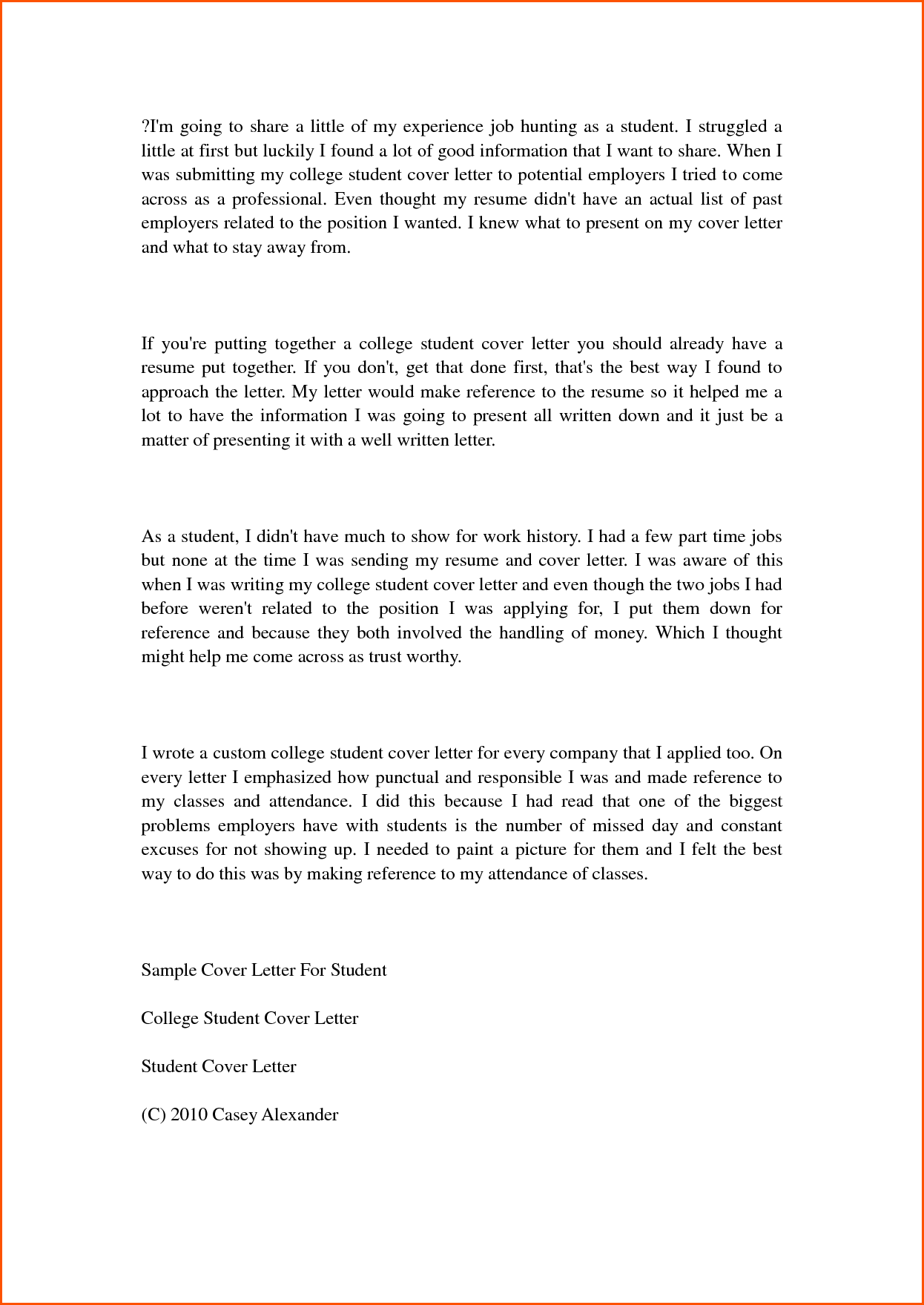 College Student Cover Letter Samples Denial Sample Help High