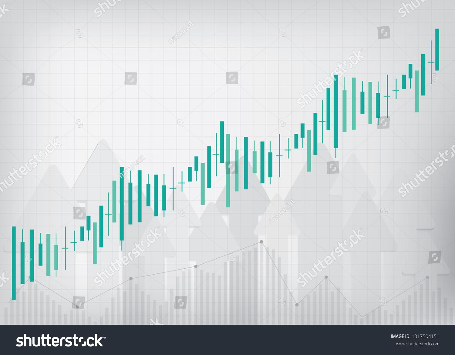 Uptrend line graph stock market  Candlestick chart strength, Arrow