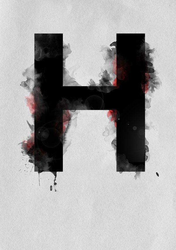 H Alphabet Letters Paint Splatter Upper Case Letters