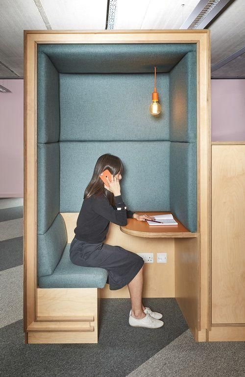 Nice way to create semi-private areas for phone calls in an open office seating. Acoustically attenuated phone booth. #workplace,  #Acoustically #areas #attenuated #booth #calls #Create #executivehomeofficedesignlivingrooms #Nice #office #Open #phone #Seating #semiprivate #Workplace