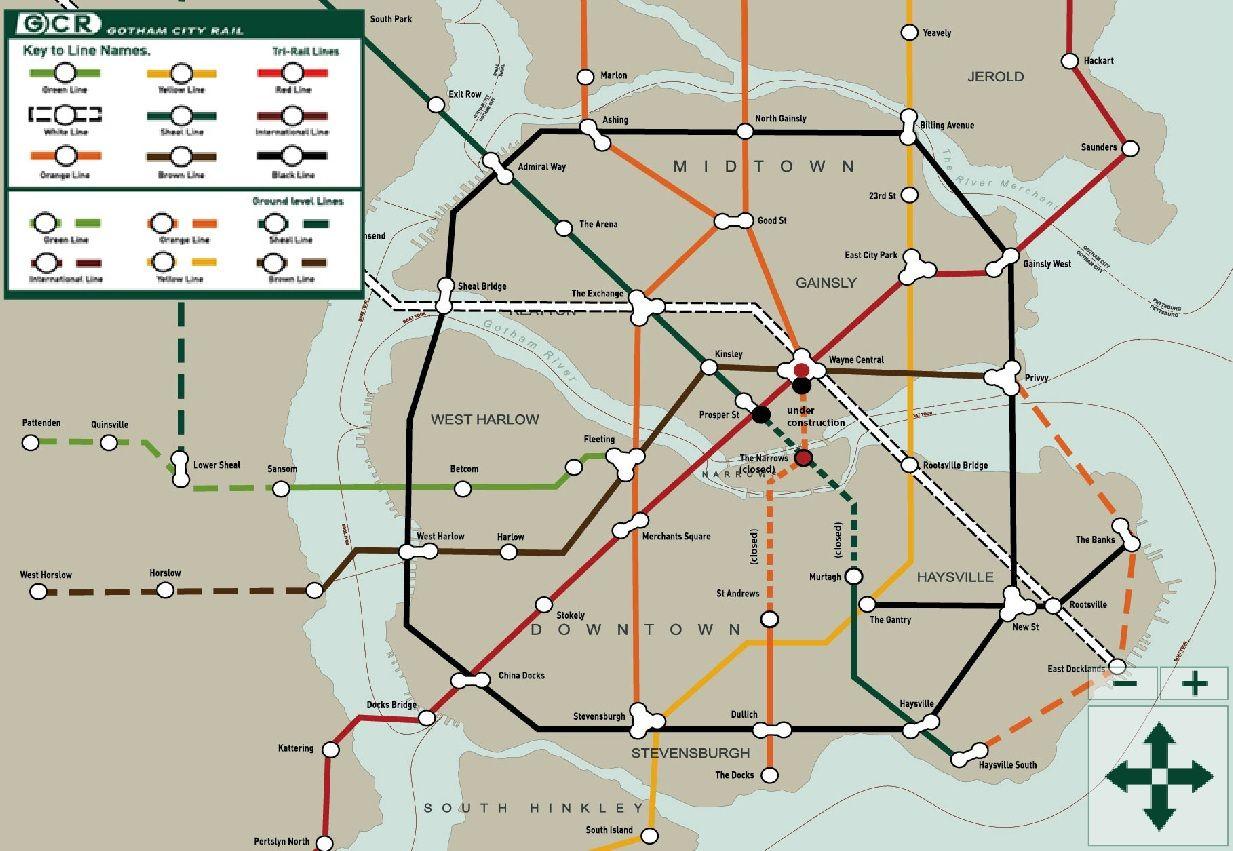 Gotham City transit map | Cartes de métro originales | Pinterest | RPG
