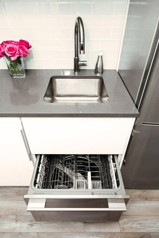 Small Kitchen Sinks Tall Round Table Jennifer S Space Renovation The Big Reveal Tiny This Single Drawer Dishwasher Might Be Enough For Your Homes