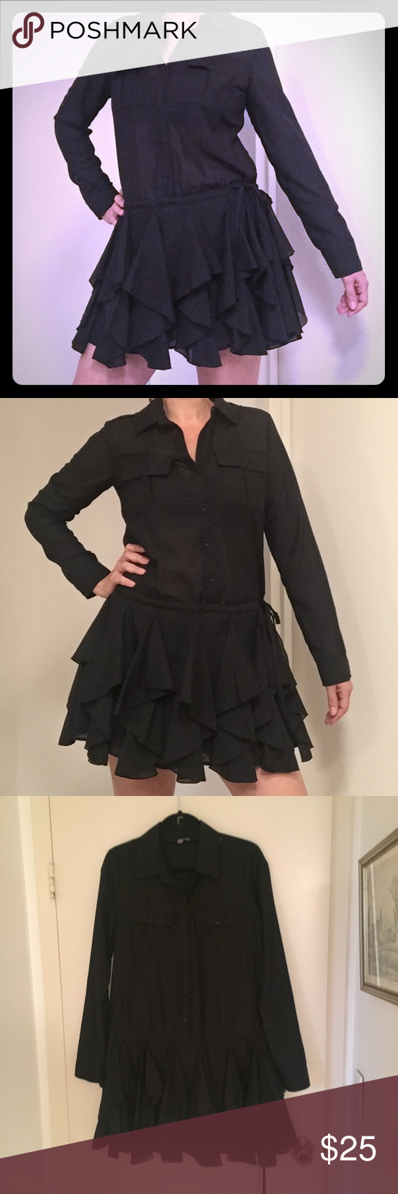 Guess long sleeved black mini dress black mini dresses long