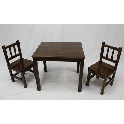 eHemco Kids 3 Piece Table and Chair Set Color Coffee