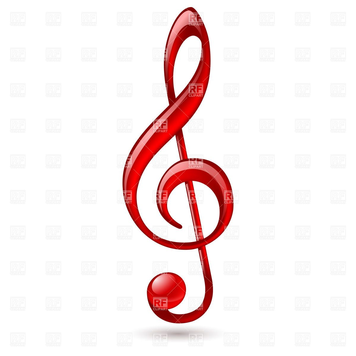 Shiny red treble clef on white background download royalty free music notes twisted into clef royalty free vector clip art image rfclipart voltagebd Images