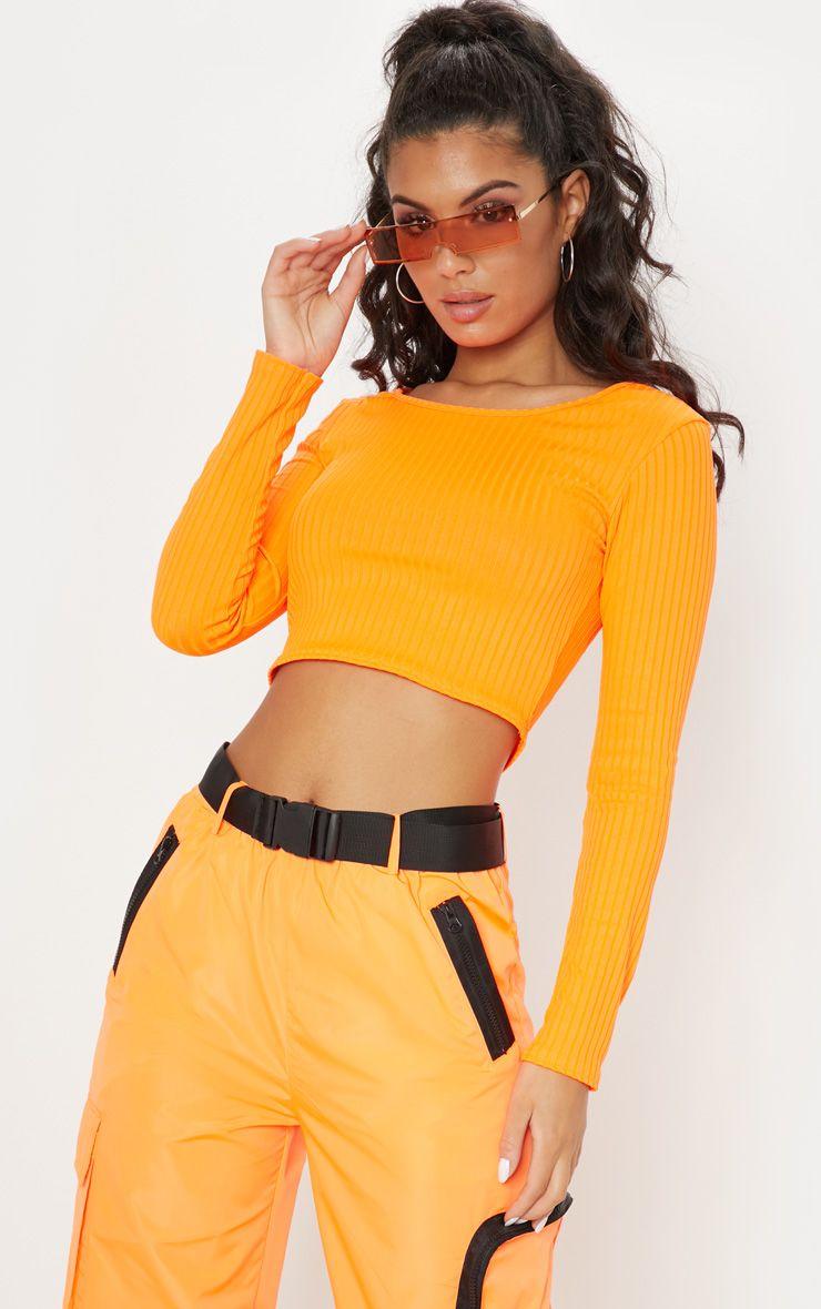 0a728c0ab4580c Neon Orange Scoop Neck Long Sleeve Crop Top in 2019 | Festival ...