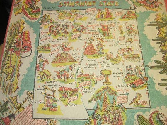 Vintage 50s Souvenir Tablecloth New Mexico by unclebunkstrunk