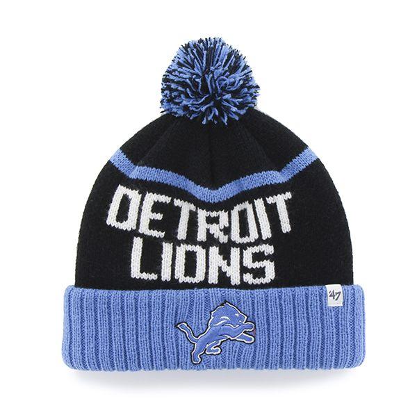 8c060cba018 Detroit Lions Linesman Cuff Knit Black 47 Brand Hat