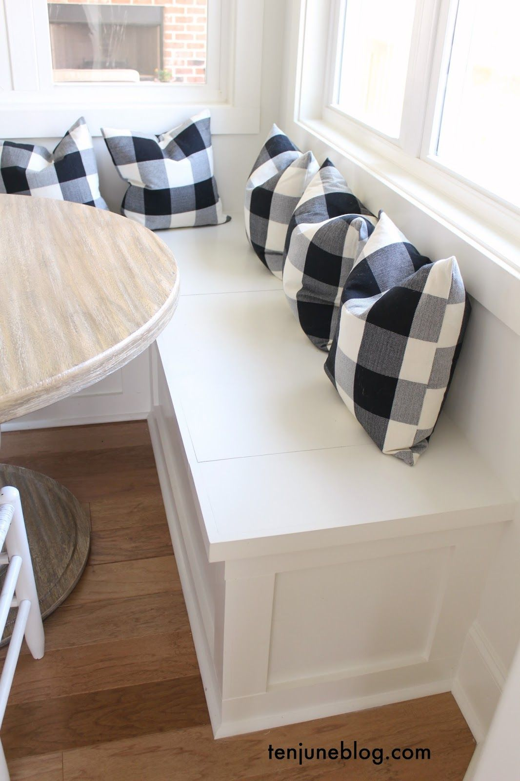 Elegant Ten June: A Farmhouse, Buffalo Check Built In Breakfast Nook White Painted  Built In Benches, Windows, Light Hardwood Floors, Round Rustic Wooden  Table, ...