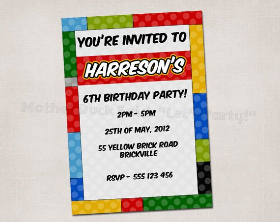 Lego party invite Party Time Pinterest – Free Lego Party Invitations
