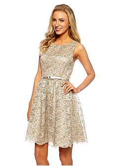 5e6f304216f5 Jessica Howard Sleeveless Lace Belted Fit and Flare Dress - Belk Tan Dresses,  Elegant Dresses