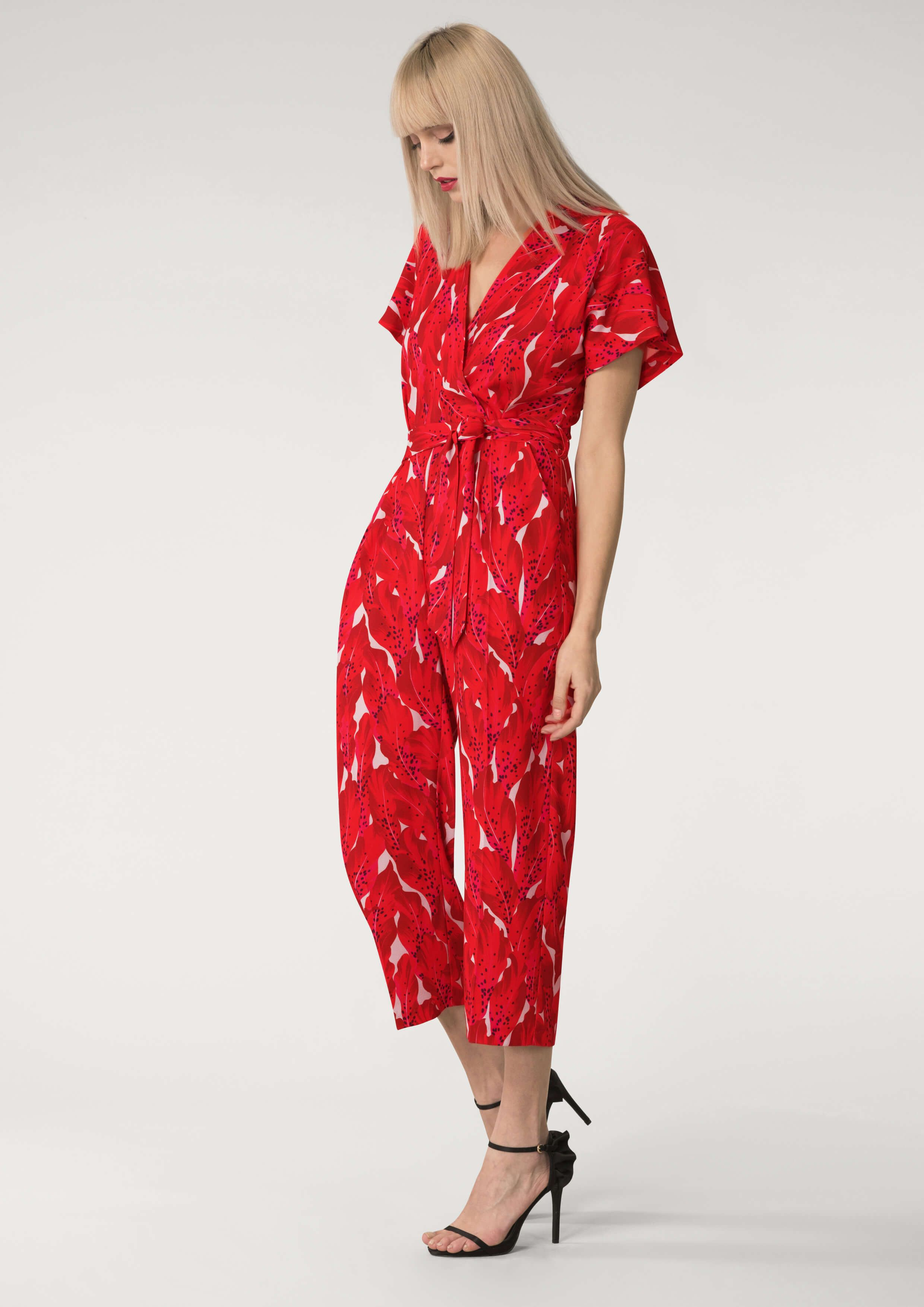 c50a19dbdb Red Wrap Over Tie Front Jumpsuit - Jumpsuits - Playsuits Jumpsuits -  Clothing