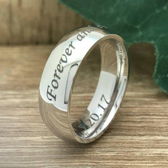8mm Titanium Wedding Ring Personalize Custom Engrave White