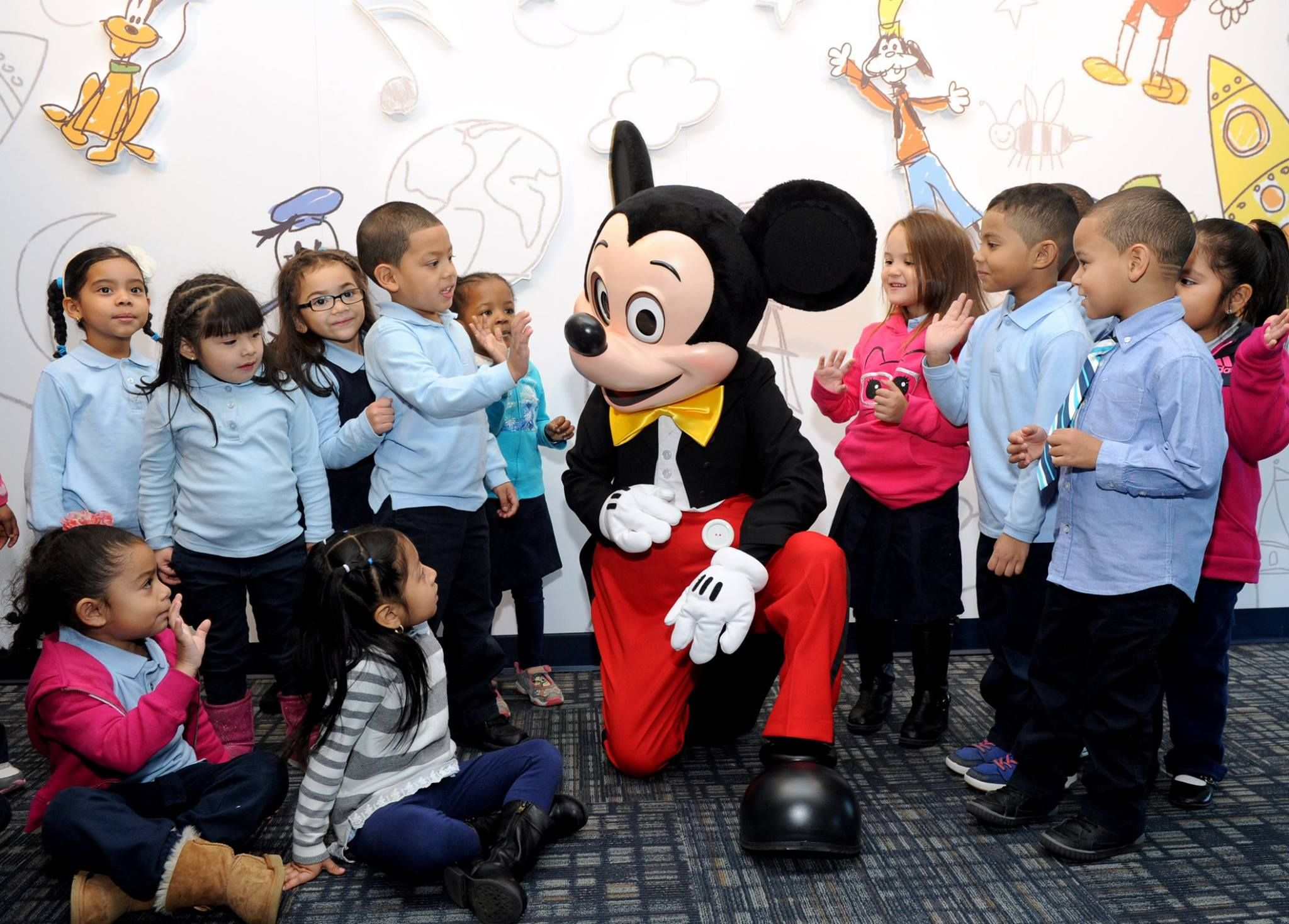 Mickey telling all these creative kids about Disney