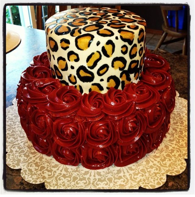 22nd Birthday Cake Designs: 21st Birthday Cake. Red Rosettes. Cheetah Print Fondant