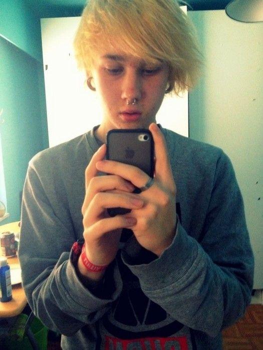 Boy Blonde Septum Piercings Streched Ear Piercings