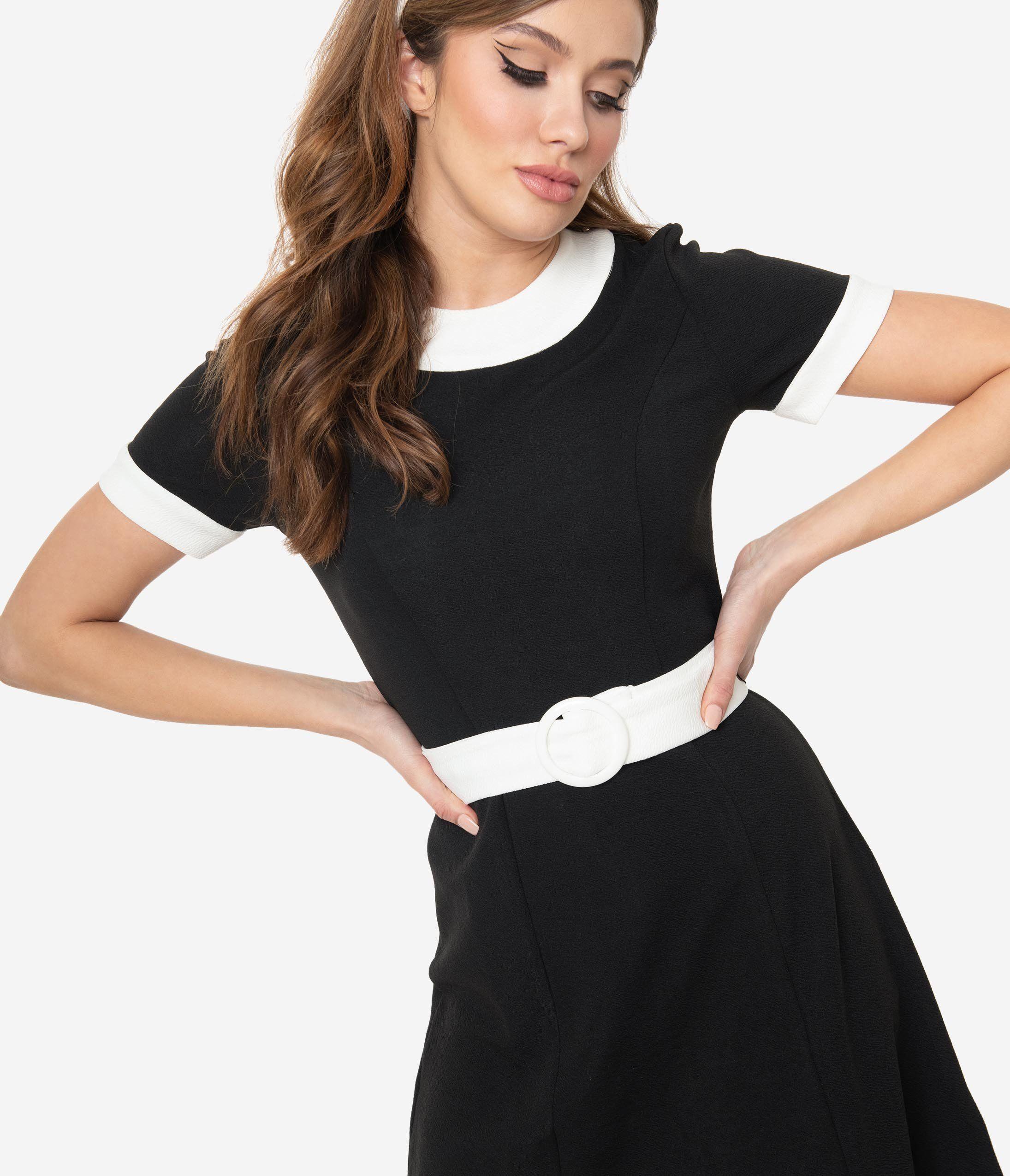Smak Parlour Black White Belted Show Stealer Dress Fit N Flare Dress Dresses Black Knit Dress [ 2550 x 2190 Pixel ]