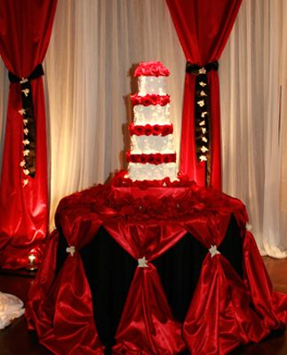 Red Black Cake Table Wedding Cake Table Cake Table Decorations Wedding Decorations