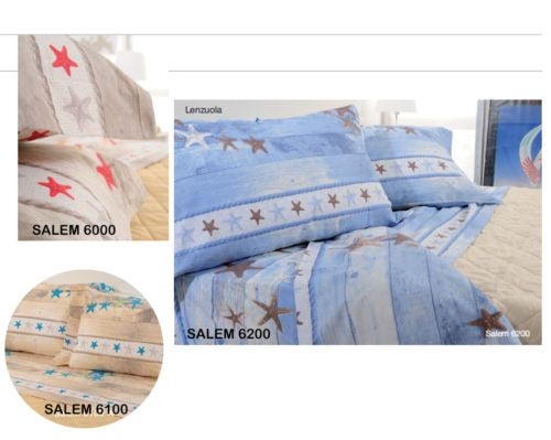 Set letto cotone biancaluna matrimoniale lenzuola mare salem corallo conchiglie mia casa al - Set letto matrimoniale ...