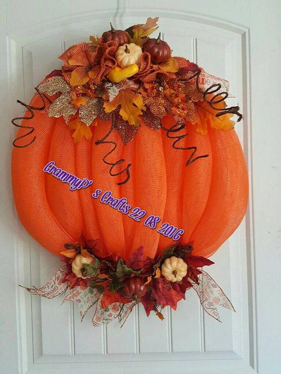 Fall pumpkin deco mesh wreath