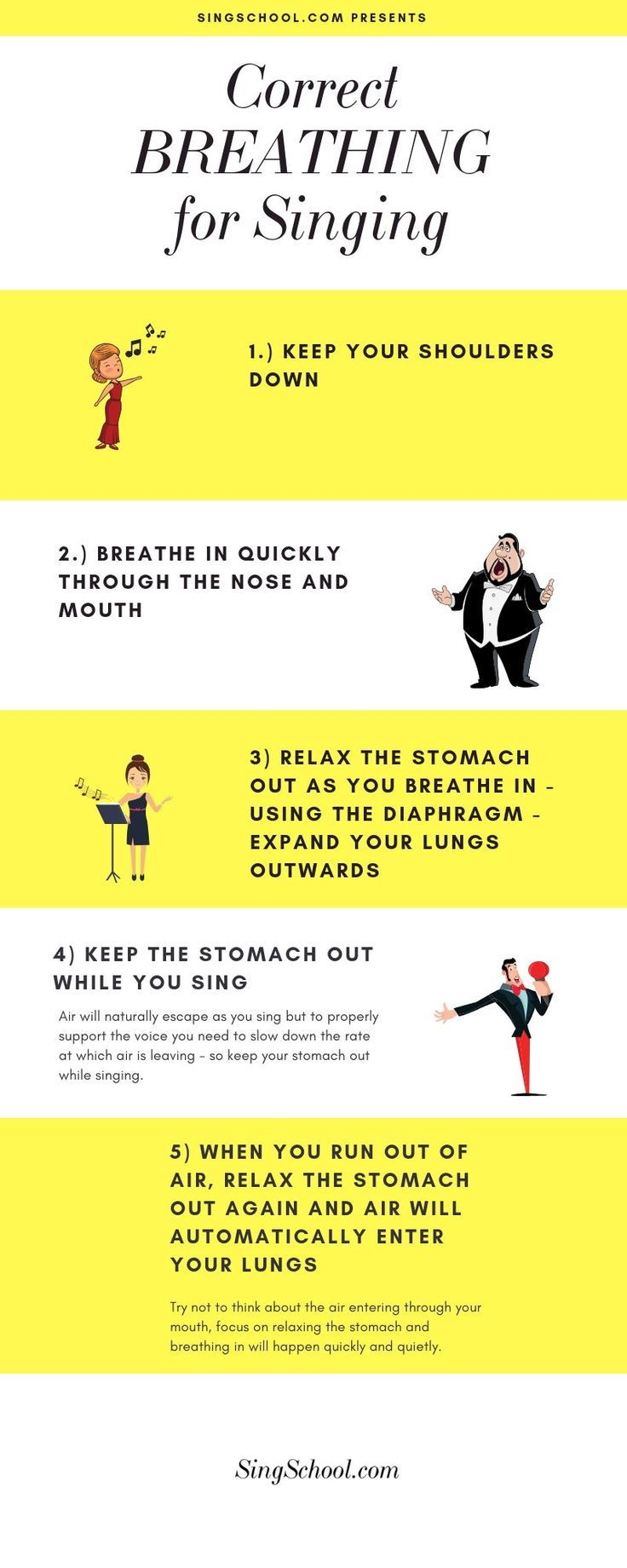 How to sing for beginners. Breathing properly will help you protect your voice as well as sing better. Here are tips to fill your lower lungs with air, enabling your abdomen and diaphragm to do the work. #singing #infographic