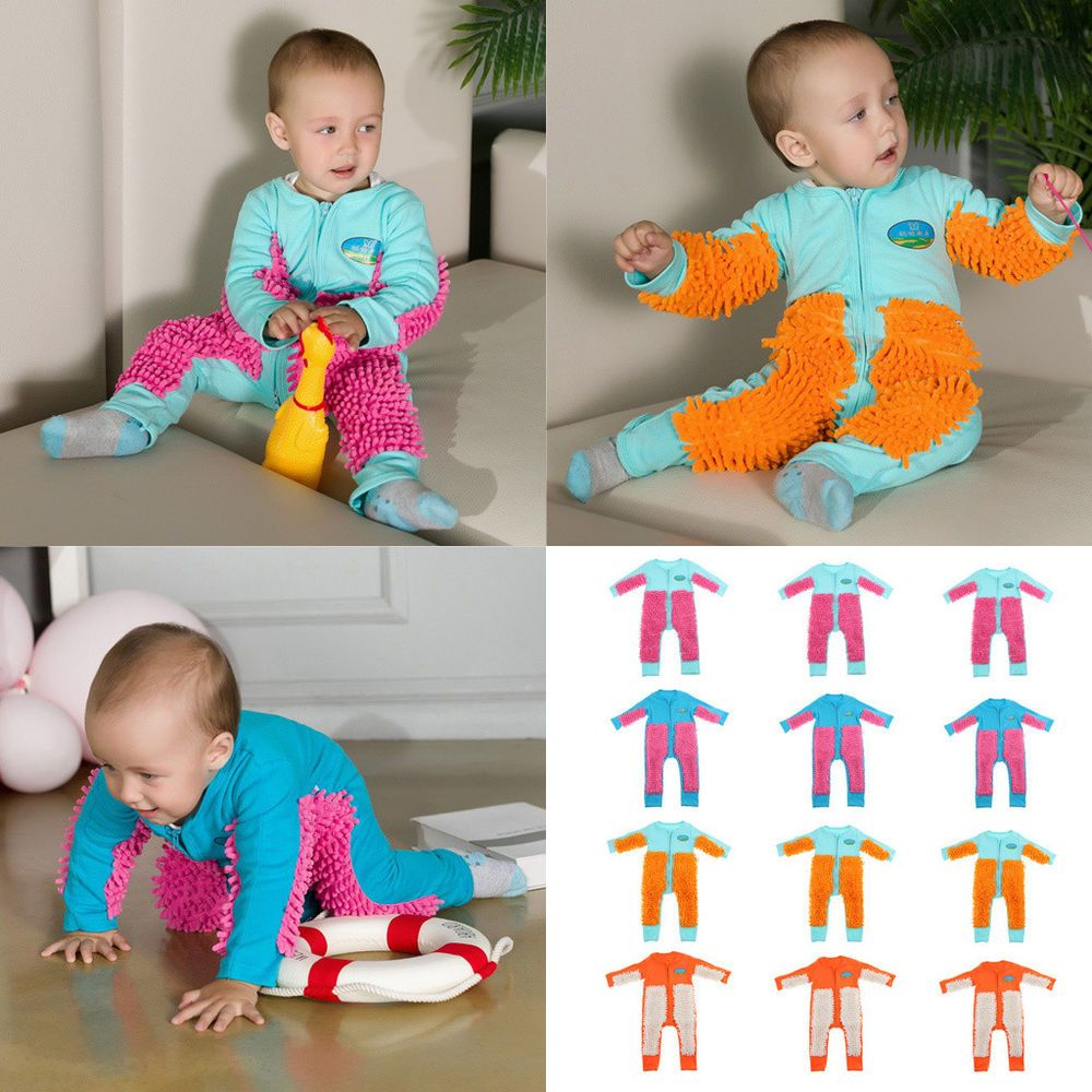e110ab2e7 Baby Mop Romper Boys Girls One-piece Crawling Clothes Floor Cleaning ...