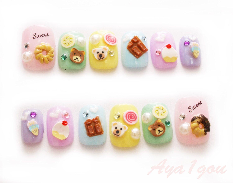 Fairy kei, donut nail art, kawaii nail, nail decal, sweet lolita ...