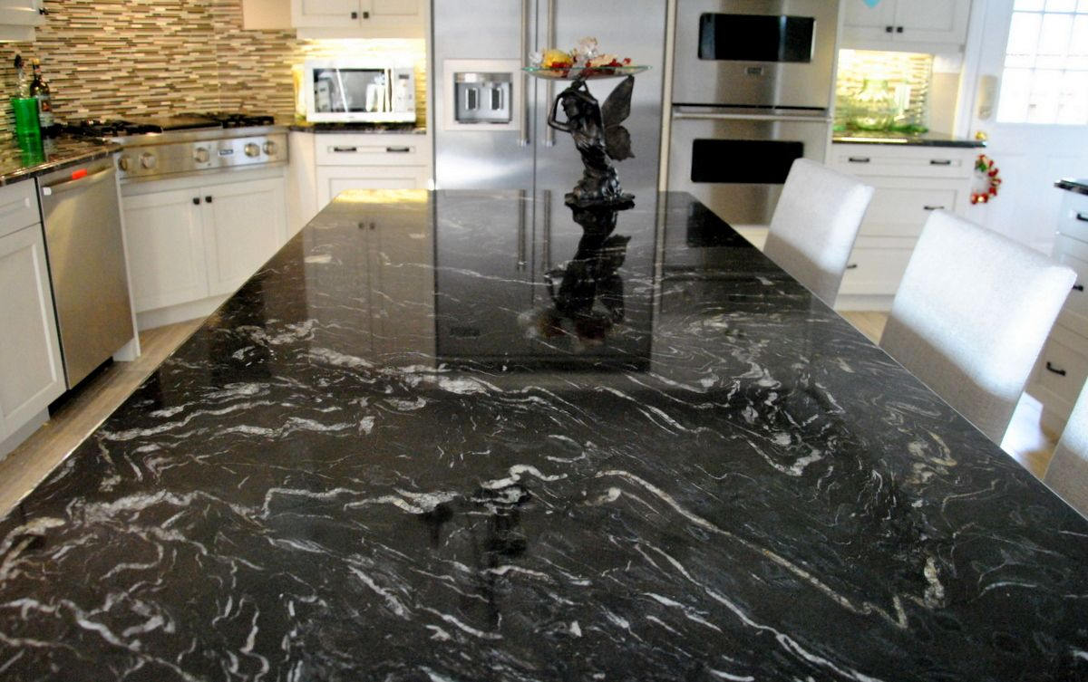 Google themes marble - Amazing Titanium Granite Countertop Idea In Dark Theme Perfect For Kitchen Decorating Idea