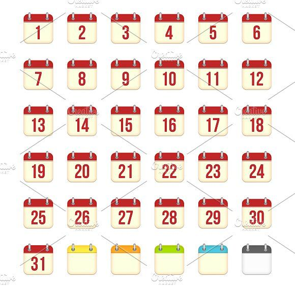 Calendar Days Icon.Vector Calendar Icons For 1 31 Days By Yurlick On Creativemarket