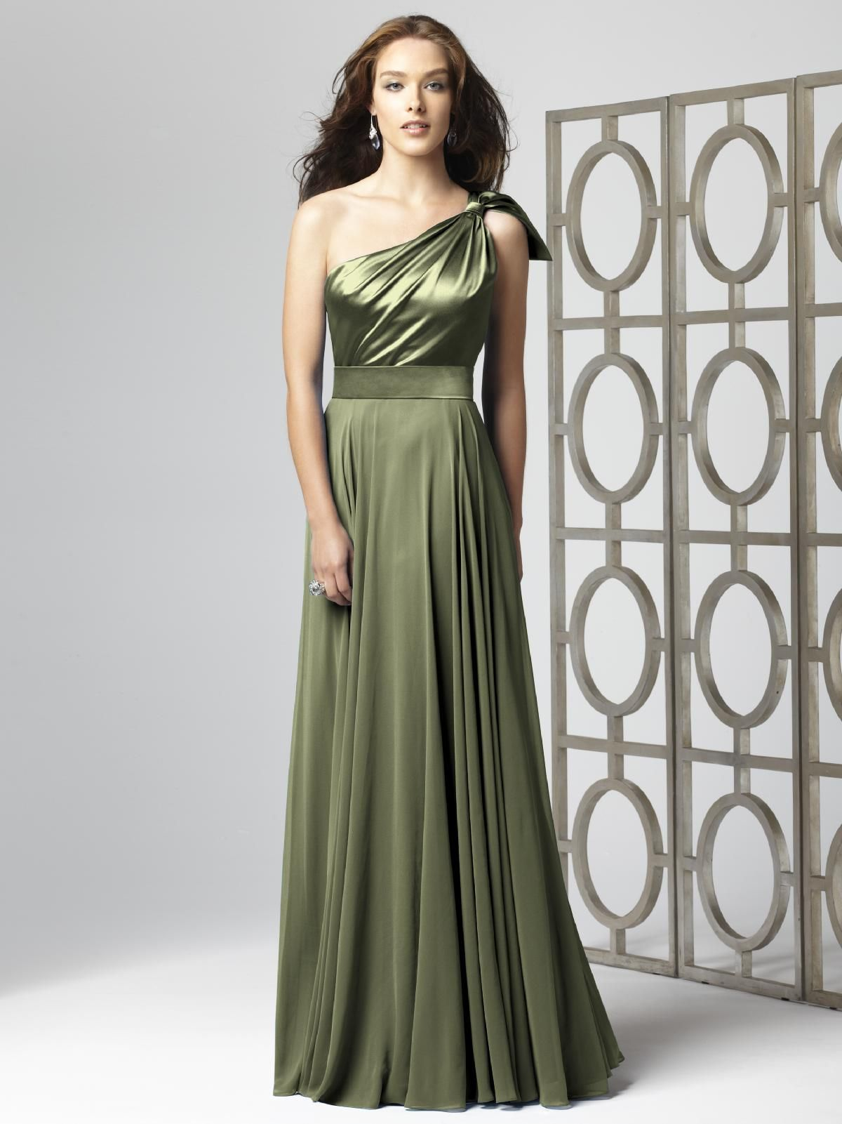 Dessy 2861 in moss green wedding pinterest wedding dessy bridesmaid 2861 one shoulder matte satin and lux chiffon full length dress with draped bodice and full skirt coordinating junior bridesmaid dress ombrellifo Image collections