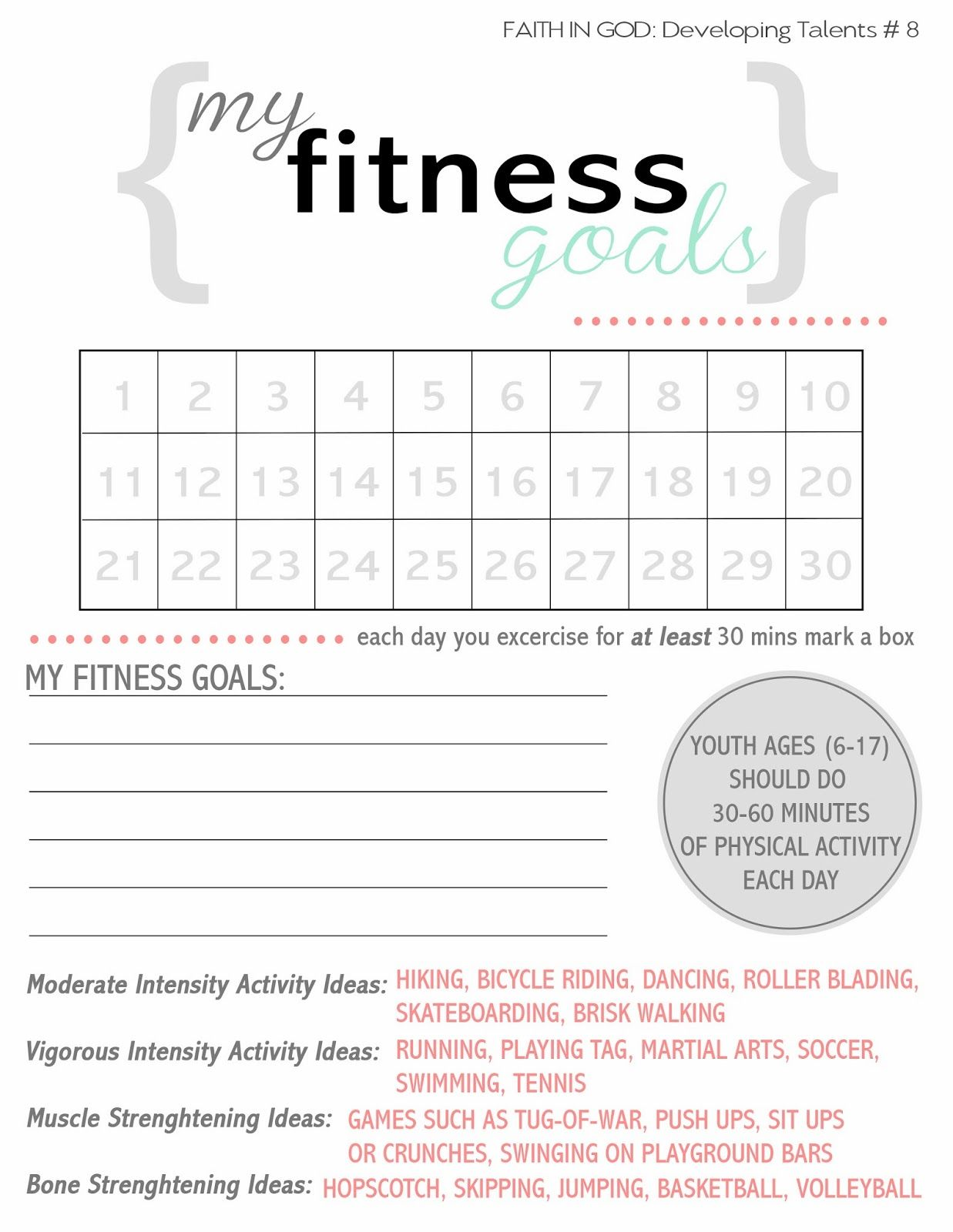 The Hill Family Activity Days Fitness Goals Printable Faith In God Body Is A Temple