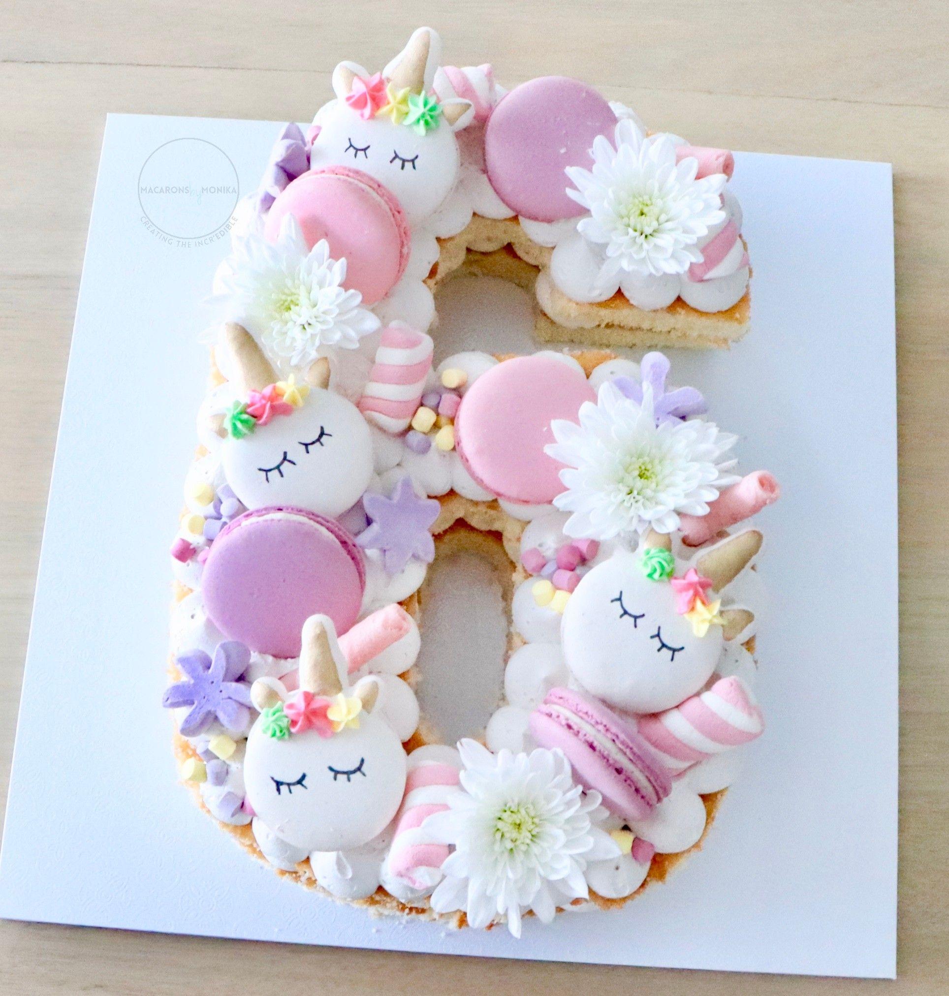 Unicorn Number Cake 6th Birthday Cakes Number Birthday Cakes Unicorn Birthday Cake