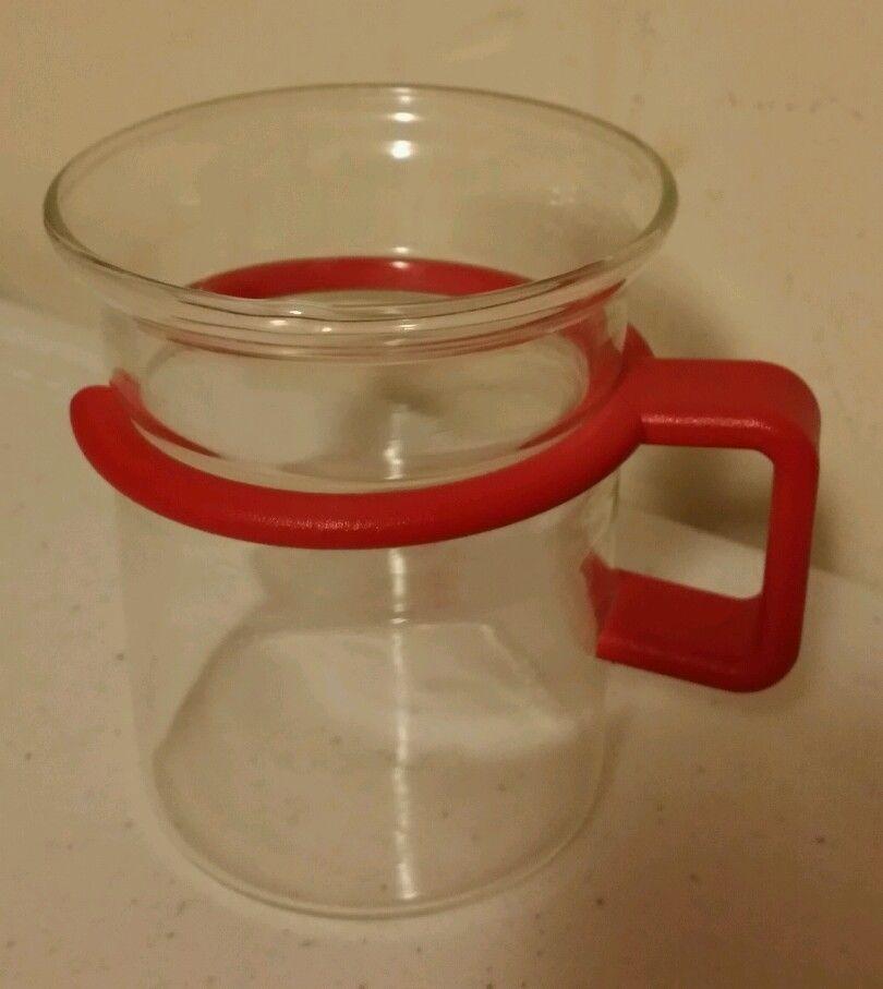 Vintage Bodum Star Trek Captain Picard Glass Coffee Tea Espresso Cup Red Handle