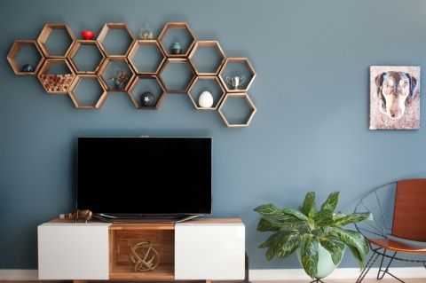 Hexagonal Geometric Shelves Above The