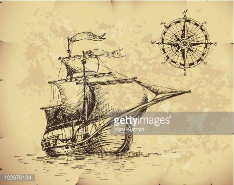 velero antiguo dibujo - Buscar con Google | Sails | Pinterest ...