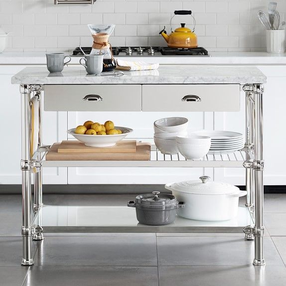 Kitchen Island 48 X 24 modular kitchen island polished nickel | williams-sonoma $2495.00