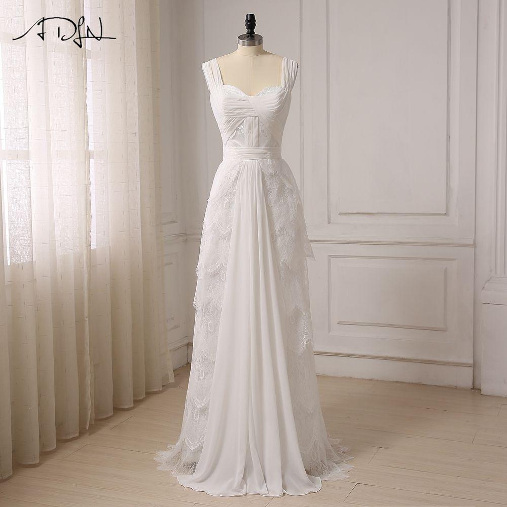 A line chiffon wedding dress  ALine Chiffon Lace Sweetheart Pleats Beach Wedding Dress  Wedding