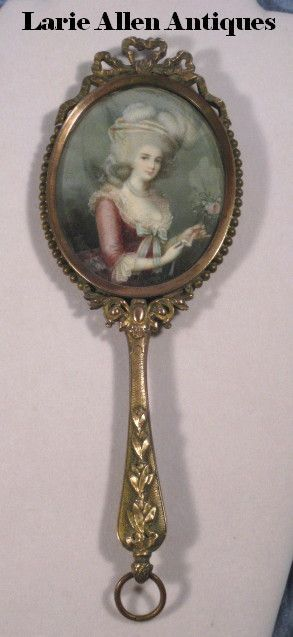 Antique French Bronze Hand Mirror With Marie Antoinette