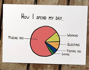 Lustige Karte - Ich vermisse dich - lustige Statistik - Fernbeziehung - Liebe - Geschenk - Freundin - Freundin - Ich liebe dich - ldr -  #fernbeziehung #karte #liebe #lustige #statistik #vermisse