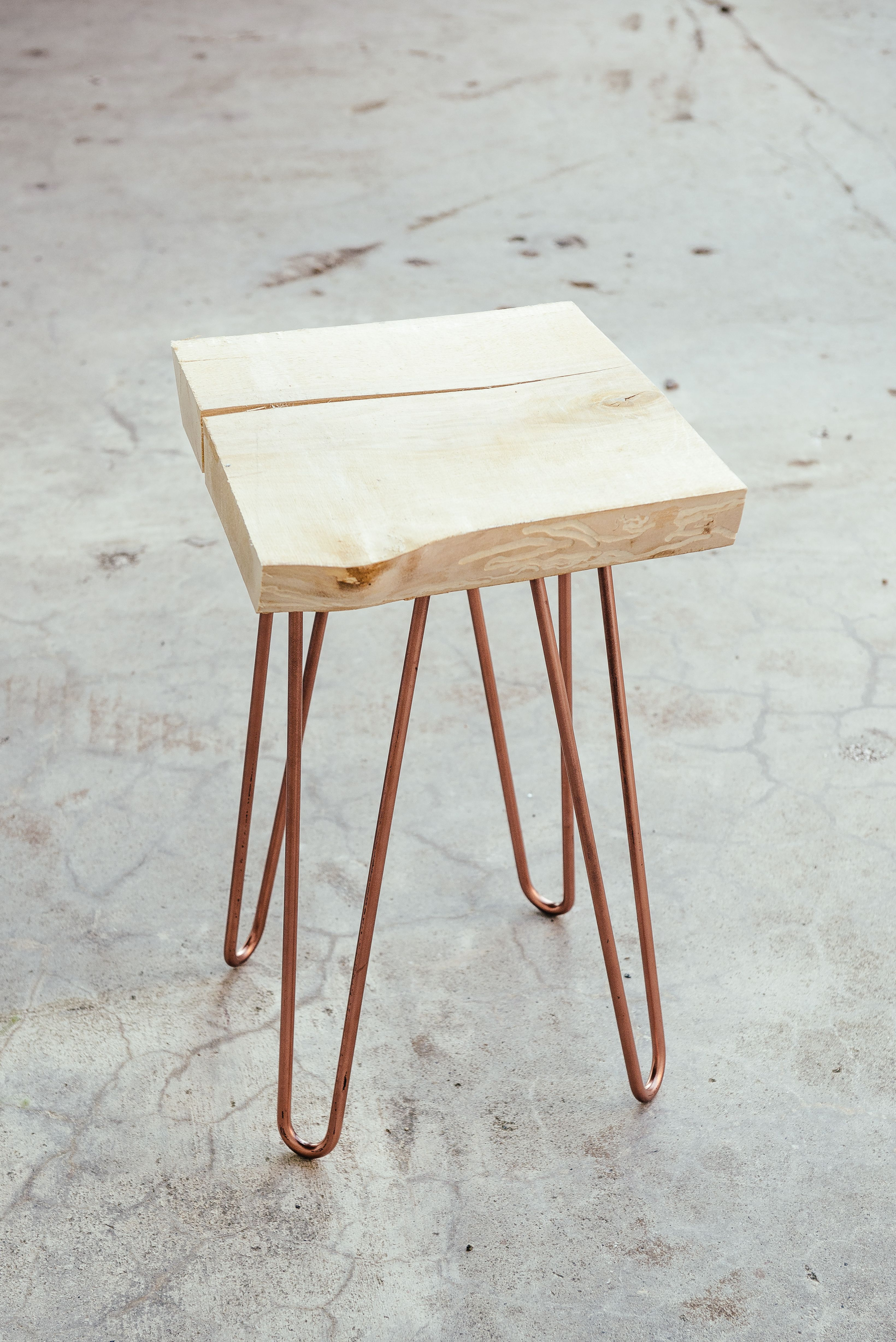 Stool With Copper Hairpin Legs