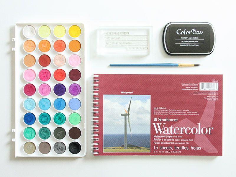 DIY stamped watercolor business cards (Akula Kreative ...