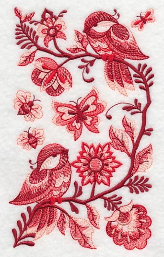 Delft Chickadees in Summer design (K3798) from www.Emblibrary.com