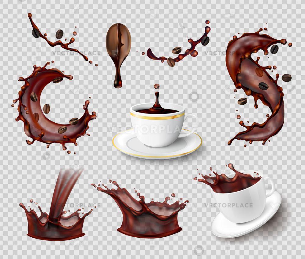 Coffee splashes realistic set of isolated liquid spray