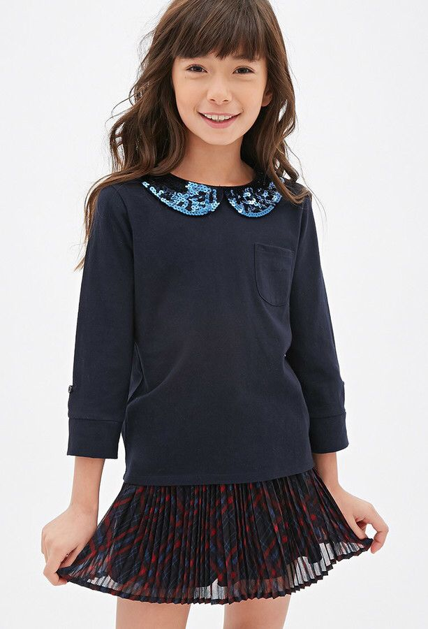 FOREVER 21 Girls Sequined Peter Pan Collar Tee (Kids)