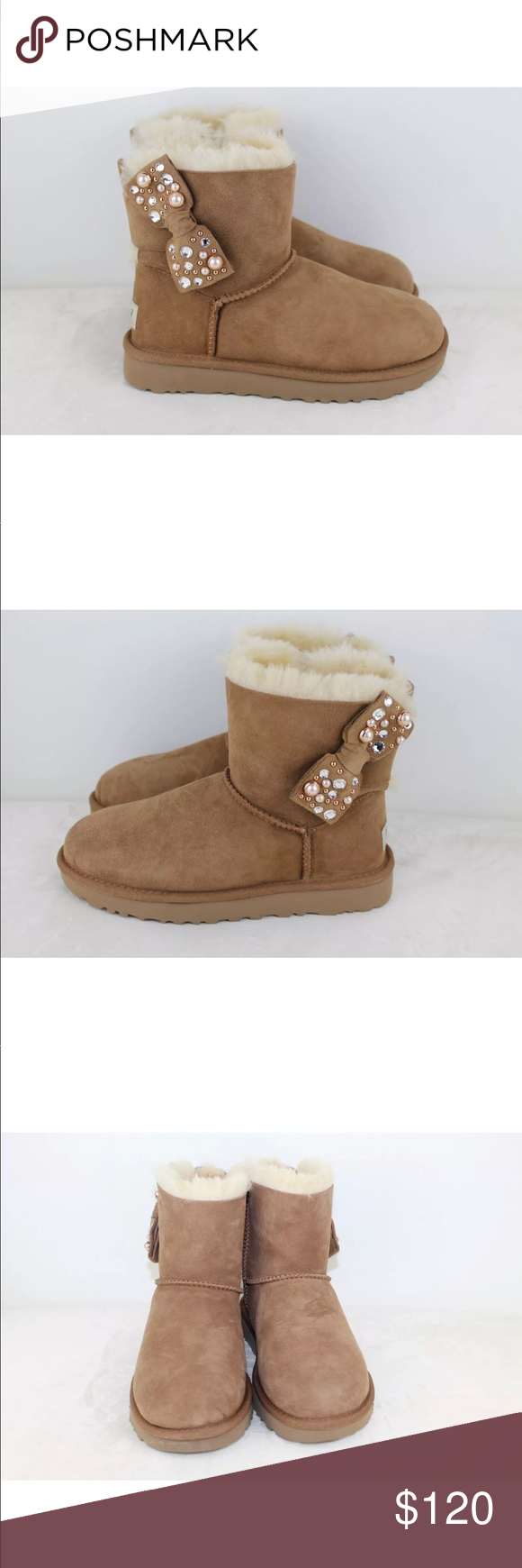 3a4710bb6df UGG MINI BAILEY BOW BRILLIANT CHESTNUT BLING BOOTS Our iconic Bailey ...