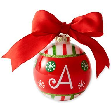 Glass Ball Initial Christmas Ornament - jcpenney | Christmas Decor ...