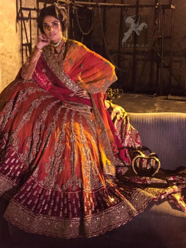 8fd7b28fba Deep Orange and Red Heavily Embroidered Bridal Lehenga For Baarat