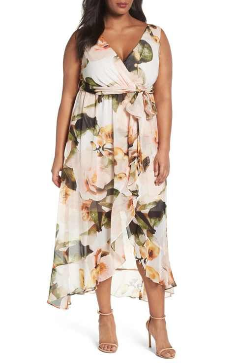 9b093a5758b Sangria Faux Wrap Floral Maxi Dress (Plus Size)