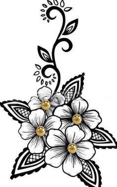 Flor Branca Flores Preto E Branco Desenho Floral