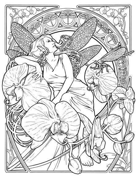 art nouveau fairy coloring page
